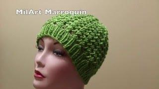 getlinkyoutube.com-Gorra crochet para Invierno 2 Agujas