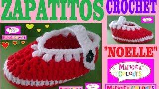 """getlinkyoutube.com-Zapatitos Bebé Escarpines """"Noelle"""" (Parte 1)  Crochet Tutorial  por Maricita Colours"""