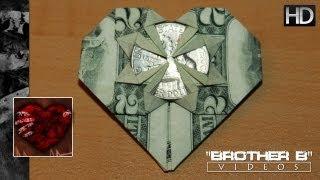 getlinkyoutube.com-Origami ♥ Dollar Bill Heart + Quarter