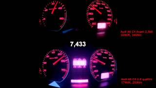 getlinkyoutube.com-Audi A6 quattro 2.8 vs. 2.5tdi, 60-100, 80-120, 0-160 km/h acceleration
