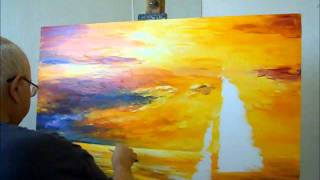 getlinkyoutube.com-artist Leonid Afremov painting a new painting of seascape with oil and palette knife