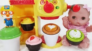 getlinkyoutube.com-콩순이 알록달록 카페놀이 뽀로로 장난감 Baby Doll Shake Machine with Poli & Pororo toys
