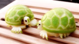 getlinkyoutube.com-How To Make Apple Turtles - Fruit Carving Garnish - Sushi Garnish - Food Art Decoration