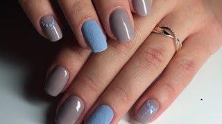 getlinkyoutube.com-Ч3. Бархатный песок акриловой пудрой, осенний дизайн ногтей гель-лаком