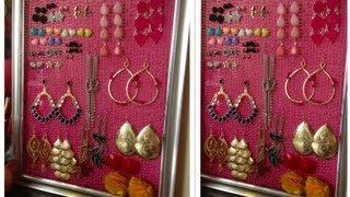getlinkyoutube.com-DIY: Como hacer organizador de Pendientes, Aretes, Zarcillos... Earring holder!