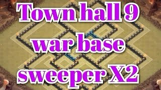 getlinkyoutube.com-Clash of Clans  - TH9 War Base Anti Gowi, Hog, Lava 2 Air Sweeper | Speed Build | REPLAY