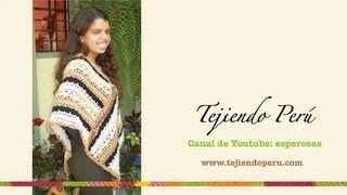getlinkyoutube.com-Cómo tejer un poncho a crochet con dos rectángulos