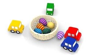 Cartoni animati per bambini:Macchinine colorate e le uova di Pasqua!