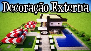 getlinkyoutube.com-Tutoriais Minecraft: Decoração Externa da Casa Moderna 10x10