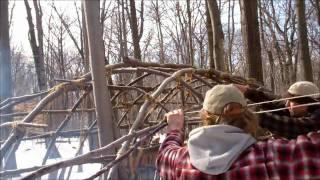getlinkyoutube.com-Winter Bushcraft Semi Permanent Shelter