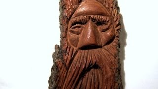 getlinkyoutube.com-Cottonwood Bark Wood Spirit Carving (full carving)