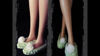 getlinkyoutube.com-sapatinho de boneca /croche - LiiArt