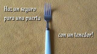 getlinkyoutube.com-Como hacer un seguro para puerta con un tenedor