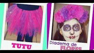 getlinkyoutube.com-DIY TUTU/ Diadema de FLORES   Disfraz de catrina