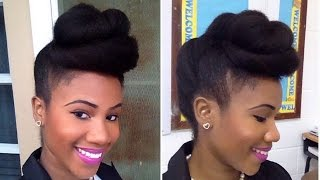 getlinkyoutube.com-Twisted Pompadour | Roll, Tuck & Pin Updo on Natural Hair