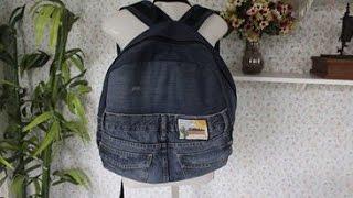 getlinkyoutube.com-Mochila de calça jeans masculina - Reciclando