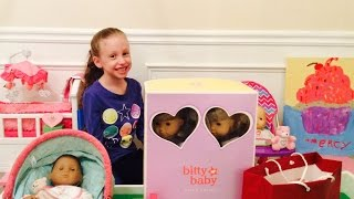 getlinkyoutube.com-American Girl Doll Bitty Baby Twins Ballerina Nightgown Accessories Haul by New Toy Collector Family