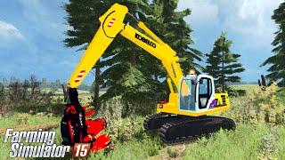 getlinkyoutube.com-Farming Simulator 15 - KOBELCO SK160 Harvester logging