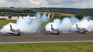 getlinkyoutube.com-3 X F-86 GIANT SCALE RC TURBINE MODEL JET FLIGHT TO MUSIC AIRSHOW / Jetpower Messe 2015