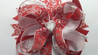 getlinkyoutube.com-Lazo  boutique doble  rojo/blanco VIDEO No. 408