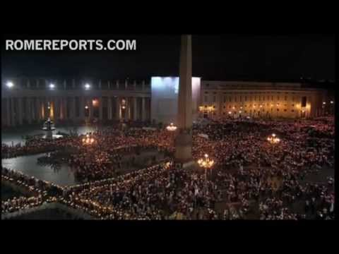 Pope attends candlelit procession in the Vatican for the anniversary of the Council