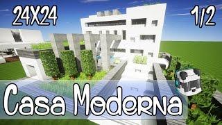 Minecraft Como hacer una casa moderna 24x24 parte 1