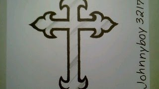 getlinkyoutube.com-How To Draw A Cross Step By Step Crucifix Tattoo For Beginners Kids Children