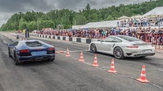 getlinkyoutube.com-Porsche 911 Turbo vs Lamborghini Aventador vs Mercedes C63 AMG