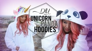 getlinkyoutube.com-DIY Unicorn & Panda Costume Tumblr Hoodies | ANN LE