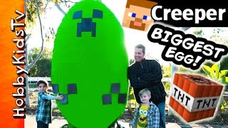 getlinkyoutube.com-Worlds BIGGEST Minecraft CREEPER Surprise Egg! Toys + Play-Doh Giant TNT Explosion HobbyKidsTV