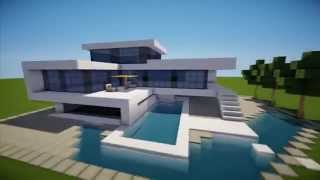 getlinkyoutube.com-MINECRAFT: How To build A Modern House / Best modern House 2013 - 2014 ( hd ) Tutorial mansion