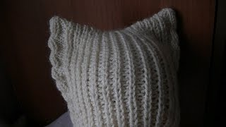 getlinkyoutube.com-Вязание шапки с ушками на спицах.  Knitting hats with ears on the needles.