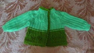 getlinkyoutube.com-Детский жакет с листиками (спицы) Часть 1 - knitting children's jacket