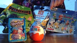 getlinkyoutube.com-[OEUF & JOUET] Kinder, Shopkins, Minion, Super Mario, Predasaurs & fun - Unboxing Egg & Toys
