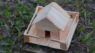How to make a Popsicle stick house - Miniature ice Cream Sticks House