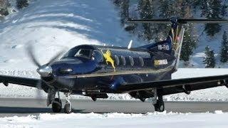 getlinkyoutube.com-Pilatus PC-12 impressive landing (2x) & take-off @ Samedan - 22/01/2014