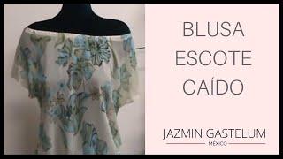 getlinkyoutube.com-Como Hacer Una Blusa Escote Caido  En 15 Minutos How To Make A Low Neck Blouse - Jazmin Gastelum