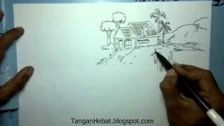 getlinkyoutube.com-video belajar menggambar rumah di desa yang damai
