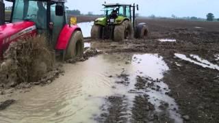 getlinkyoutube.com-Claas + Massey Ferguson + John Deere - stuck in mud zapadanje u blatu