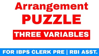 Day Arrangement Puzzles Three Variable  For IBPS CLERK PRE   RBI ASST. Exam [ In Hindi ]