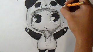 getlinkyoutube.com-Cómo dibujar  Chica Chibi-Panda | How to Draw Girl Panda Chibi