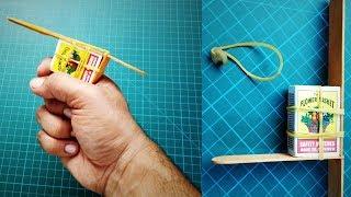 How To Make A Matchbox Gun   Toy Gun   Matchbox pistol that Shoots   DIY Gun   Rubber Band Gun
