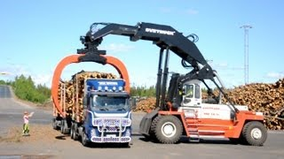 getlinkyoutube.com-Svetruck TMF 28-21 unloading Volvo FH12 6x2 Timber Truck