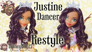 getlinkyoutube.com-Ever After High Justine Dancer Doll Hair Restyle Tutorial | How To Curl Dolls Hair