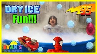 getlinkyoutube.com-DRY ICE IN KIDDIE POOL Easy science experiment for kids Spiderman doll Disney Cars toys Egg Surprise