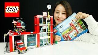 getlinkyoutube.com-레고시티 소방본부 소방헬기 장난감 조립 플레이 소방관 캐리 LEGO City Fire Station 60004 Toys