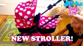 getlinkyoutube.com-New i'coo Doll Stroller from Costco! With Baby Born Emma!💖 - Aloha Baby Alive Unpacking & Review!
