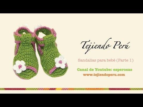 Sandalias para bebe tejidas a crochet (Parte 1: la suela)