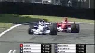 getlinkyoutube.com-Michael Schumacher overtakes Heidfeld Brazil 2006