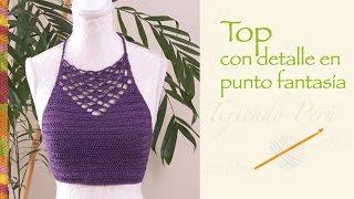 Top de verano con detalle en punto fantasía tejido a crochet / Talla S  (¡incluye diagramas!)